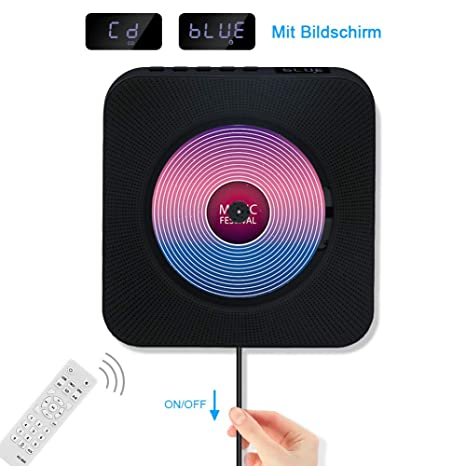 Jimwey CD Player Bluetooth HiFi Lautsprecher Portable Home Audio Wandmontage FM Radio MP3 mit Schlaf-Timer LED Display USB Ei
