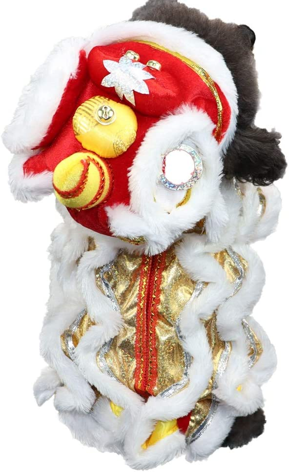 Yinrunx Cute Dance Lion Pet Costume with Red Sequins Chinese Style New Year Cat Dog Clothes Hoodies Coat for Small Medium Large Dogs