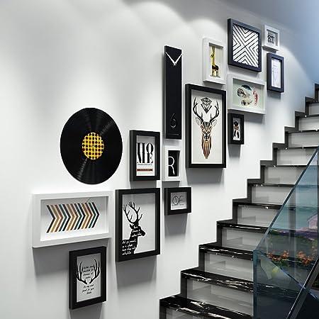 66LYN Escalera Decoración de Pared Conjunto de Marcos para Fotos Marcos de Madera para Montaje en Pared Kits de galería Collage Fotos Exhibición (Color : B): Amazon.es: Hogar