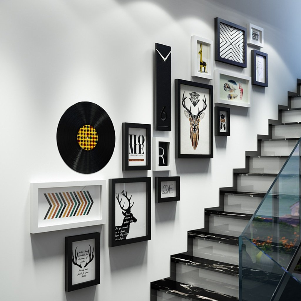 Modern fashion Photo wall Creative stairs Clock Photo Frames wall Multi Picture Photo Frames combination ( Color : A ) Xin Yu Yue Firm