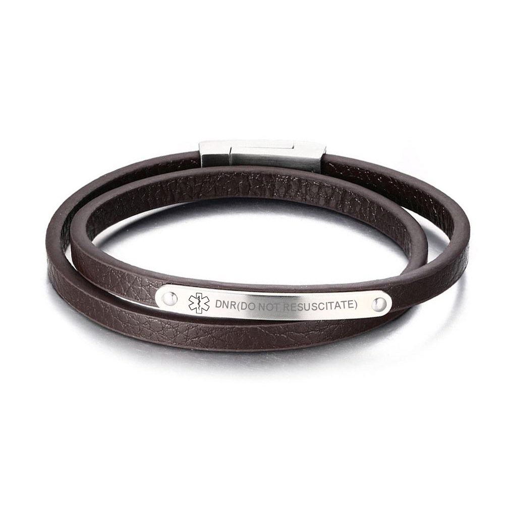VNOX Medical Symbol Brown Double Wrap Genuine Leather Bracelet with Magnet Clasp for Men Women, 7.8 VNOX Jewelry BL-256ZS+ADDISON DISEASE