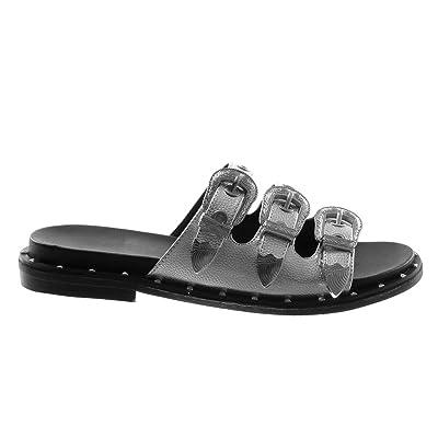Angkorly Chaussure Mode Sandale Mule Slip-On Femme Boucle Métallique Perforée Talon Plat 3 cm