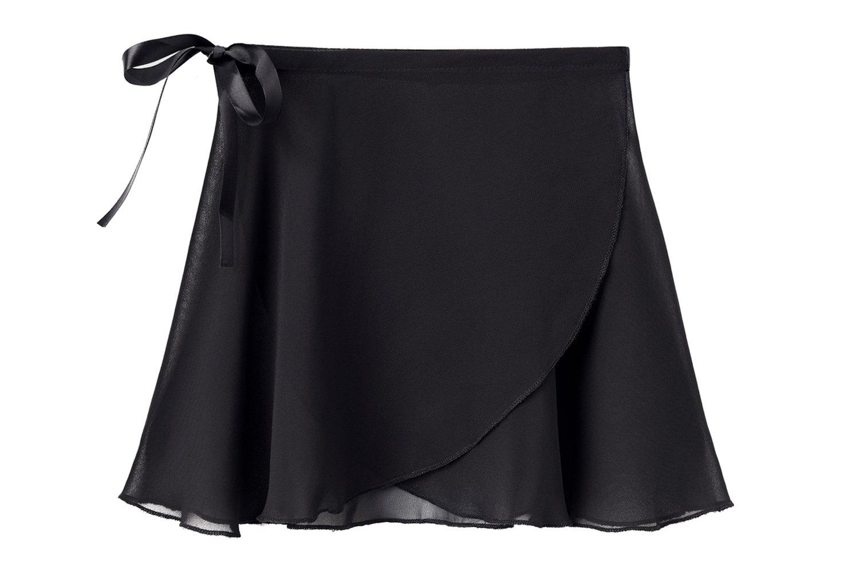 STELLE Girls/Womens Chiffon Wrap Skirt for Dance(Black, Large - Women(Waist: 30.5-32 In))