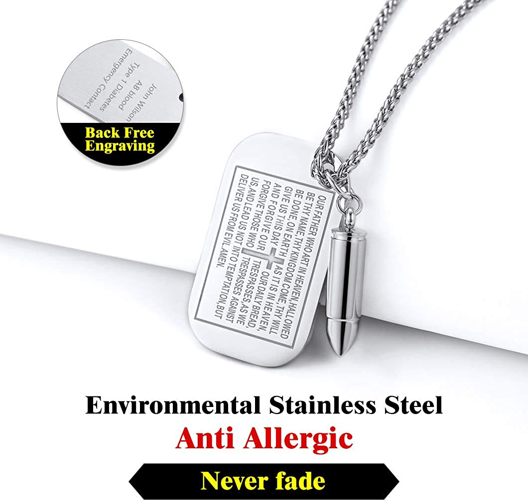 Customizable Gift Packaging Resziable Wheat Chain Stainless Steel Jewellery Army Card Necklace Gold//Black Plated Bible Verse//Black Carbon Fiber//Mechanical Style//Classical Dog Tag Pendant Necklace