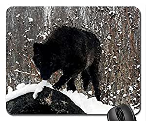 Black Timber Wolf Mouse Pad, Mousepad (10.2 x 8.3 x 0.12 inches)