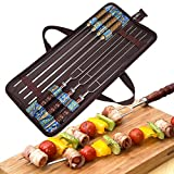 Angelbubbles Barbecue Forks BBQ Skewers 100% 304 Stainless Steel + Heat Resistant Wooden Handle + Portable Storage Bag For Outdoor Camping Travelling (7)