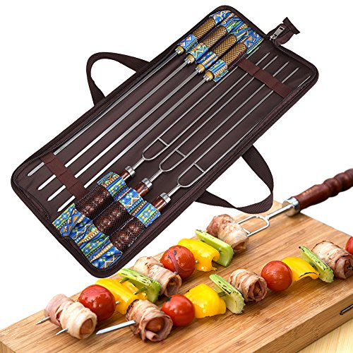 Angelbubbles Barbecue Forks BBQ Skewers 100% 304 Stainless Steel + Heat Resistant Wooden Handle + Portable Storage Bag For Outdoor Camping Travelling (7) by Angelbubbles