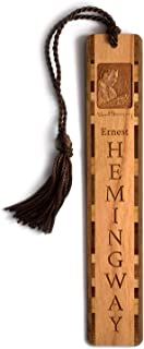 product image for Author - Ernest Hemingway Photo with Signature, Engraved Wooden Bookmark with Tassel