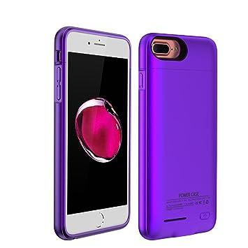 Funda Batería iPhone 7 Plus/6S Plus/6 Plus,Mini kitty Case Carcasa Con Batería Cargador-batería Externa Recargable 4300mAh (Púrpura)