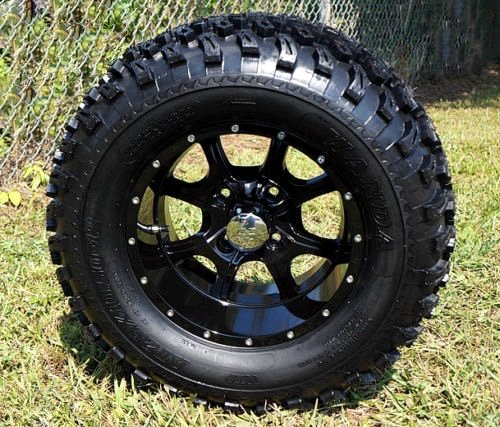 GOLF CART 12''x7'' GLOSS BLK NIGHT STALKER ALUMINUM WHEELS & 23'' AT TIRES-SET OF 4 by Steeleng