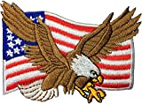 (US) Bald Eagle with American Flag Embroidered Iron Sew On Patch by Ranger Return (1Pcs.)