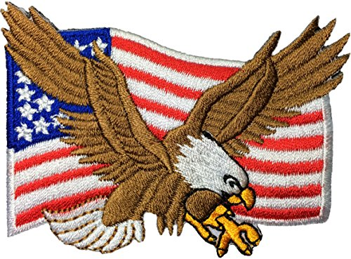 - Bald Eagle with American Flag Embroidered Iron Sew On Patch by Ranger Return (1Pcs.)
