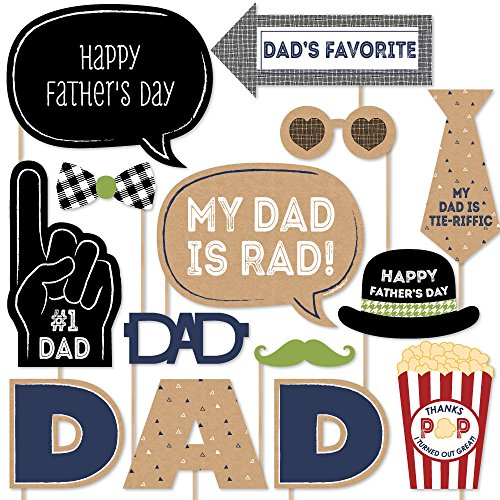 Day Decorations Fathers (Big Dot of Happiness My Dad is Rad - Father's Day Photo Booth Props Kit - 20 Count)