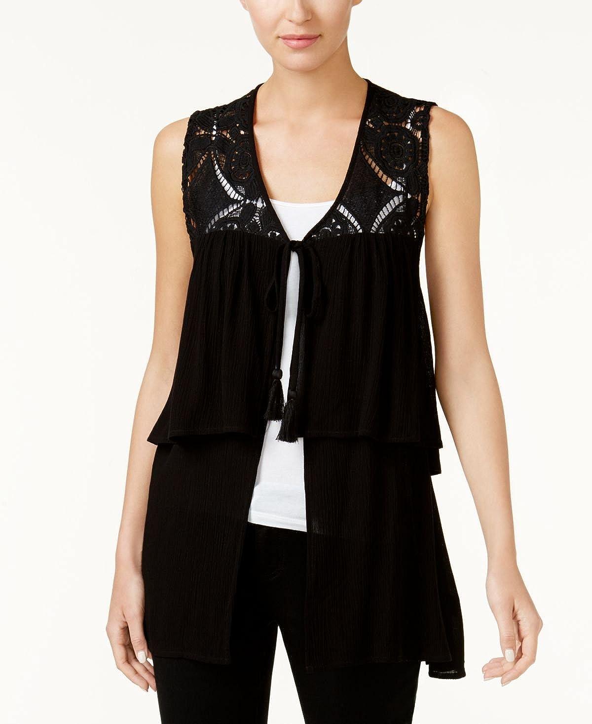 August Silk Company Tiered Crochet-Contrast Vest in Black