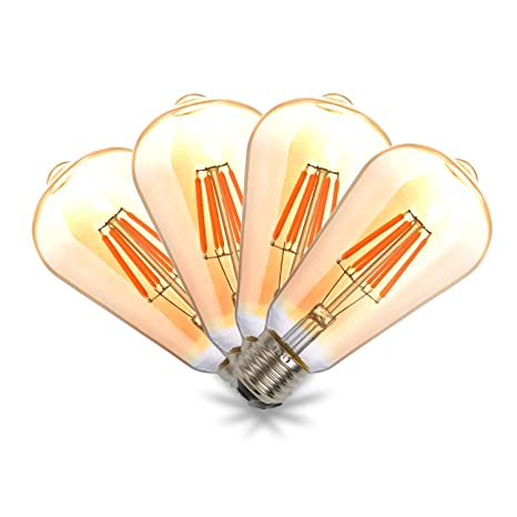THINKMORE Bombilla Edison Vintage LED E27 Retro 8W Equivalente a 60W Blanco Cálido 2200K No Regulable