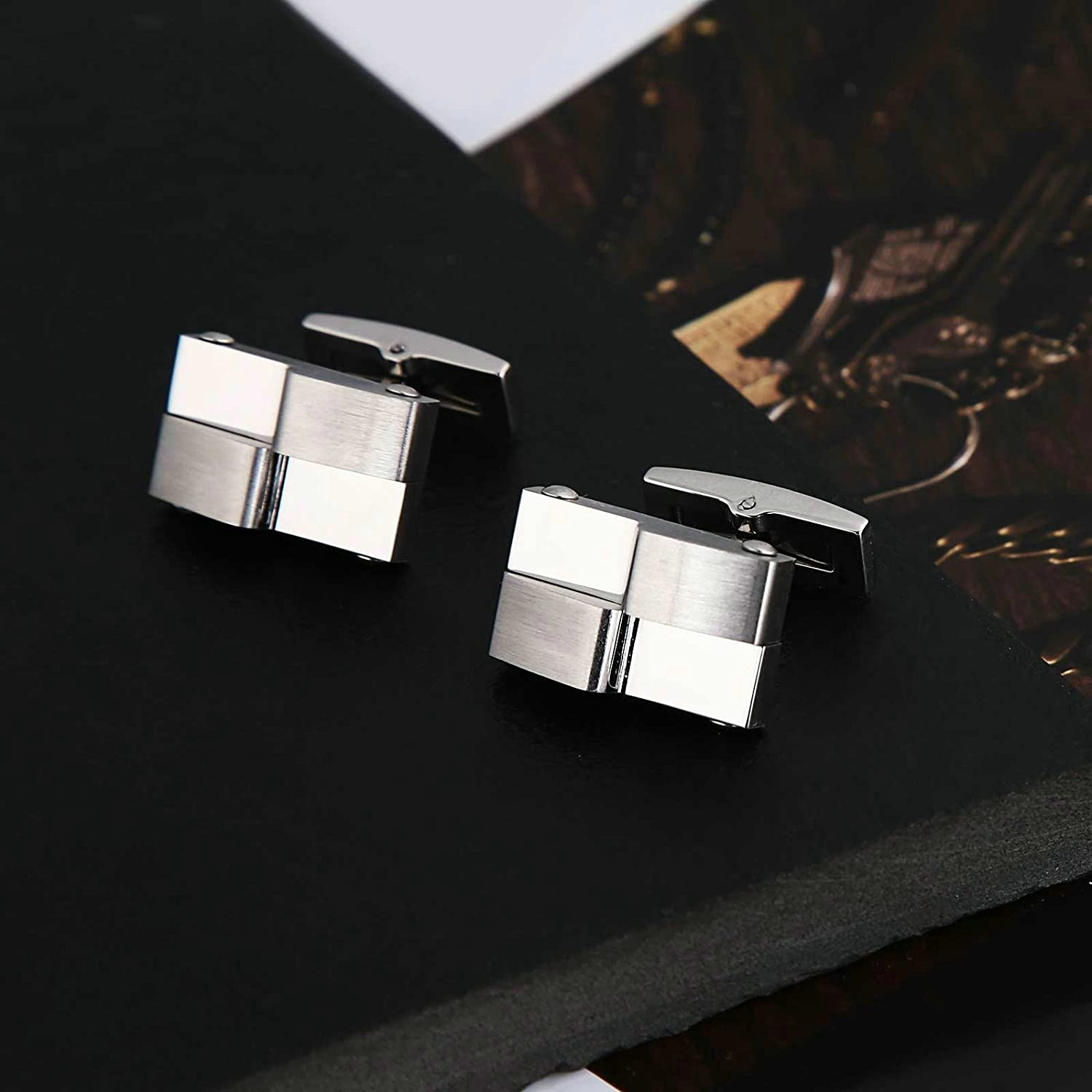 Aooaz Mens Cufflinks Stainless Steel Silver Rectangle Bar Pin High Polished 2X1.3CM Bridegroom Dad Unique Jewelry Box Fancy Elegant
