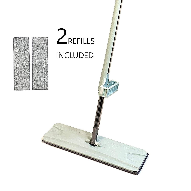 16インチ プロフェッショナル マイクロファイバー モップキット 再利用可能なパッド2個付き 乾湿両用 クリーニングモップ ハードウッドフロア/ラミネート/木製/タイル用 B07R1LLDCM