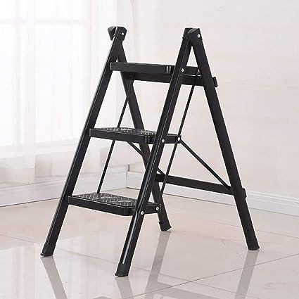 Escalera plegable de hierro de 3 peldaños, taburetes de escalada para el hogar, color opcional (color: verde), color negro talla única: Amazon.es: Oficina y papelería