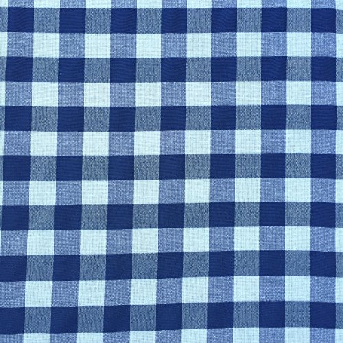 Navy Blue White Kitchen Curtains: Gingham Checkered Plaid Design