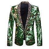 PYJTRL Men Stylish Two Color Conversion Shiny Sequins Blazer Suit Jacket (Gold + Green, M/40R)