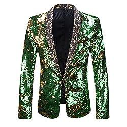 Green Two Color Conversion Sequins Blazer