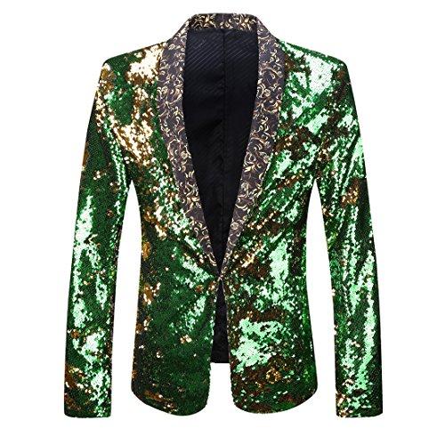 PYJTRL Men Stylish Two Color Conversion Shiny Sequins Blazer Suit Jacket (Gold + Green, S/38R)
