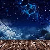 Leowefowa 5X5FT Twinkle Starry Night Backdrop Blue Sky White Cloud Dreamy Backdrops for Photography Nostalgia Stripes Wood Floor Vinyl Photo Background Boys Girls Room Wallpaper Studio Props