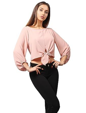 e45c4e62b6520 NE PEOPLE Women s 3 4 Sleeve Modish Chiffon Blouse Crop Top With ...
