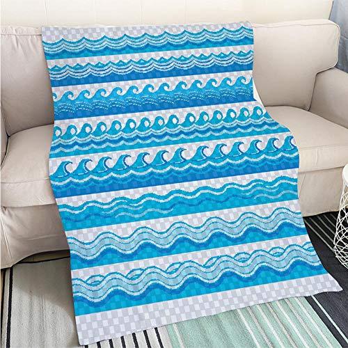 BEICICI Creative Flannel Printed Blanket for Warm Bedroom Blue Transparent Wave Patterns Fashion Ultra Cozy Flannel Blanket
