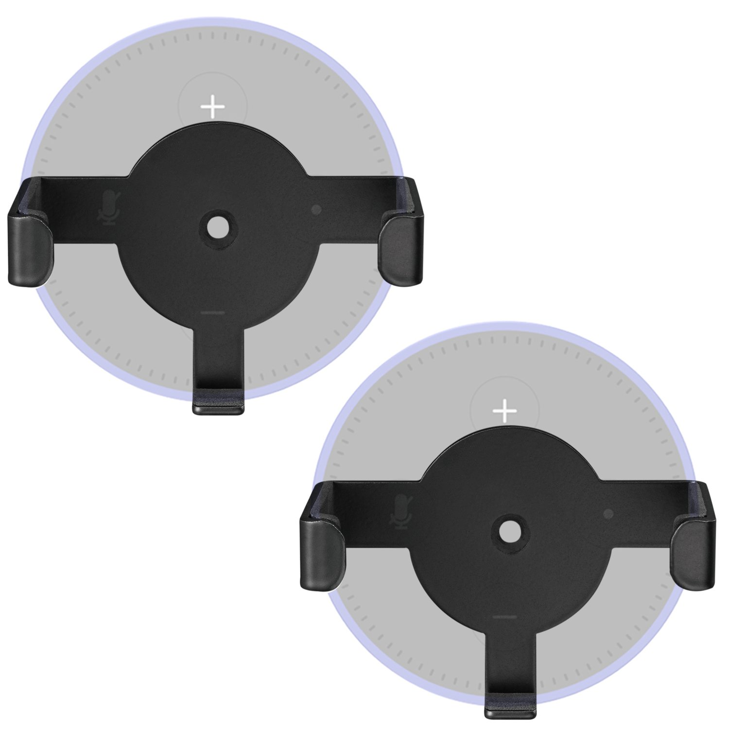 WALI Universal Metal Wall Mount Holder Bracket Case Stand for Dot 2nd Generation and Other Voice Assistants (SWM-EH-02B), 2 Packs, Black