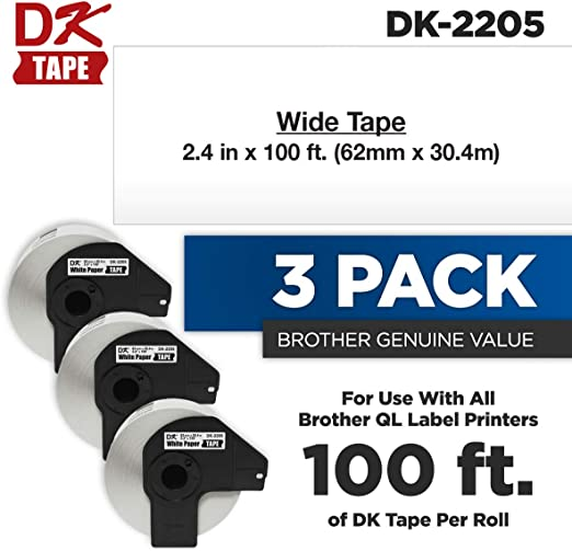 5x Brother Replacement DK22205 Printer Labels 62mm Roll+Spool for QL-560 QL-570
