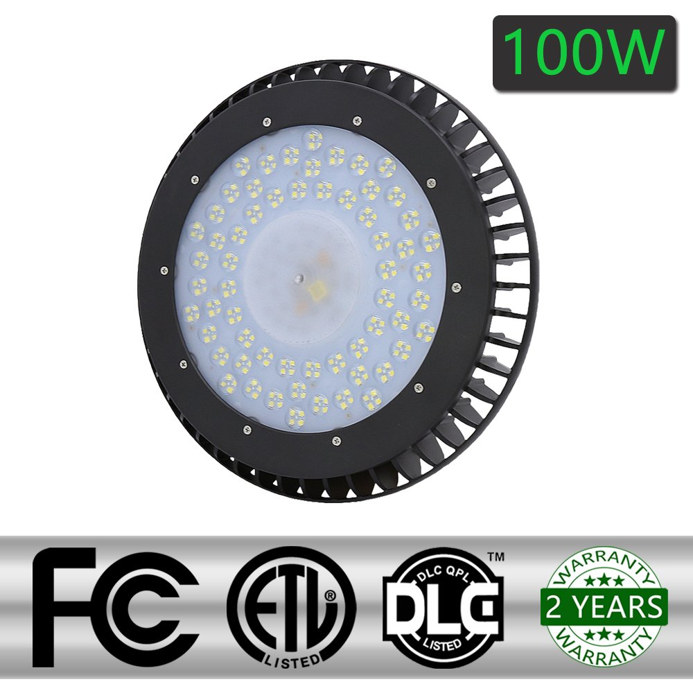 HG High Bay Light Bright Warehouse LED Lights Cool White IP54 Apply to Factory Supermarket Warehouse Ultra Efficient Easy to Install Safe And Reliable (100W)