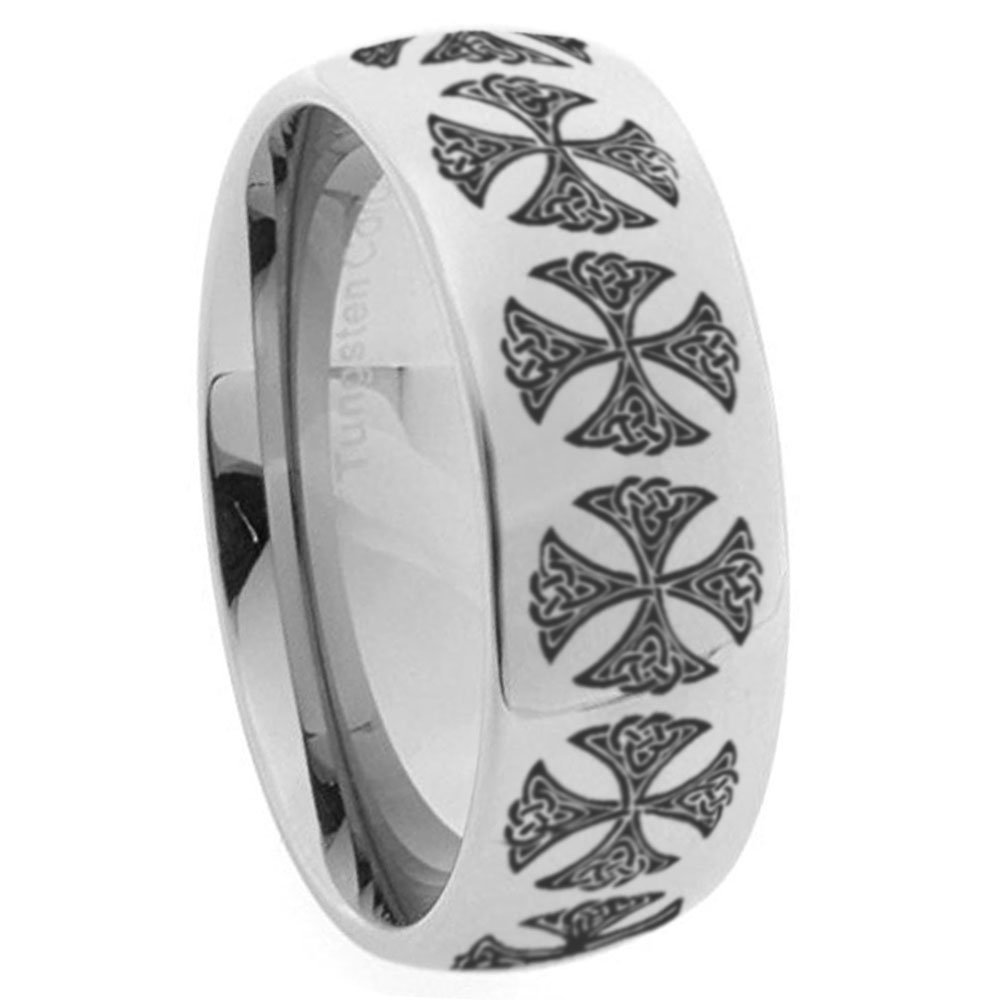 Emyf 8mm Tungsten Celtic Crosses Wedding Ring Mirror Dome Personalized Rings For Men Size 7 To 13amazon: Wedding Rings Tungsten Crosses At Websimilar.org