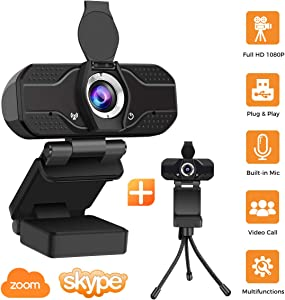 Webcam with Microphone, BOPOREA PC Webcams Desktop & Laptop 1080P Full HD USB Computer Web Cam with Microphone Widescreen 110 Degree Extended View for Mac YouTube Skype Live Streaming