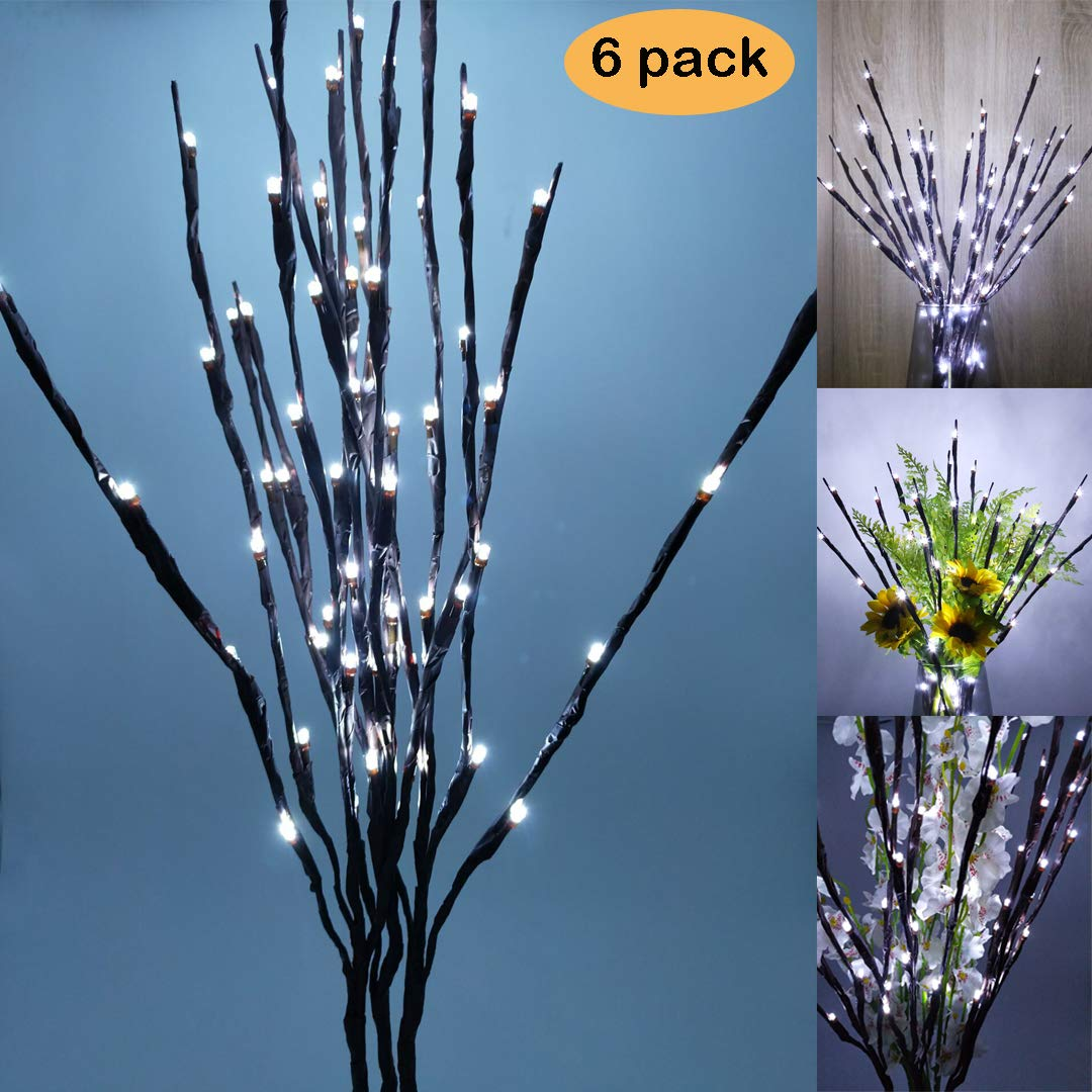 accmor Led Lighted Twig Branches/Branch Lights, Battery Powered 20 Inches 20 LED Lights for Christmas Home Decoration(6 Pack, Cool White)