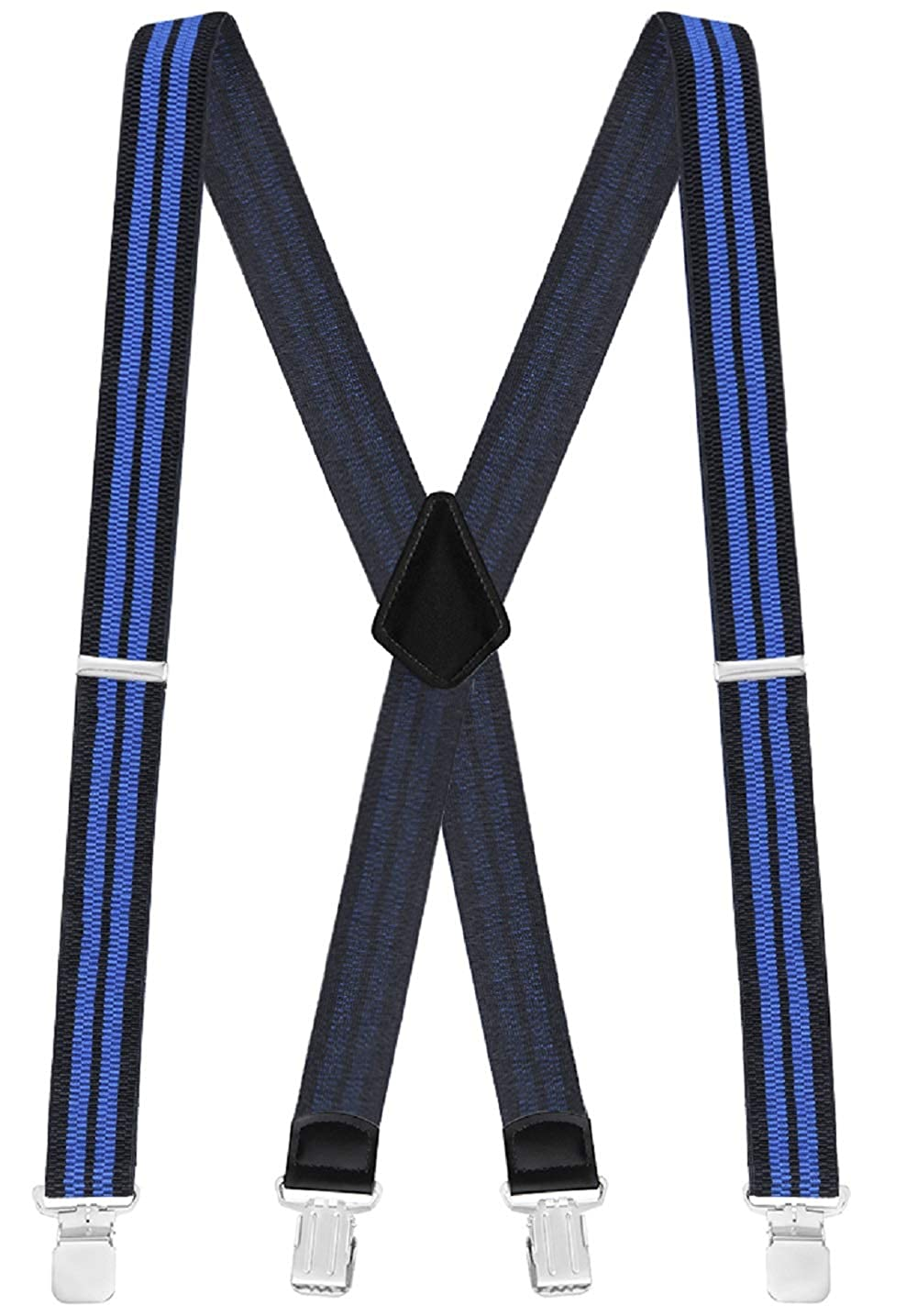 Adjustable and Solid with Metal Clips//One Size Fits All Buyless Fashion Mens Straight Braces Wide X-Back Style 1 /½ Heavy Duty