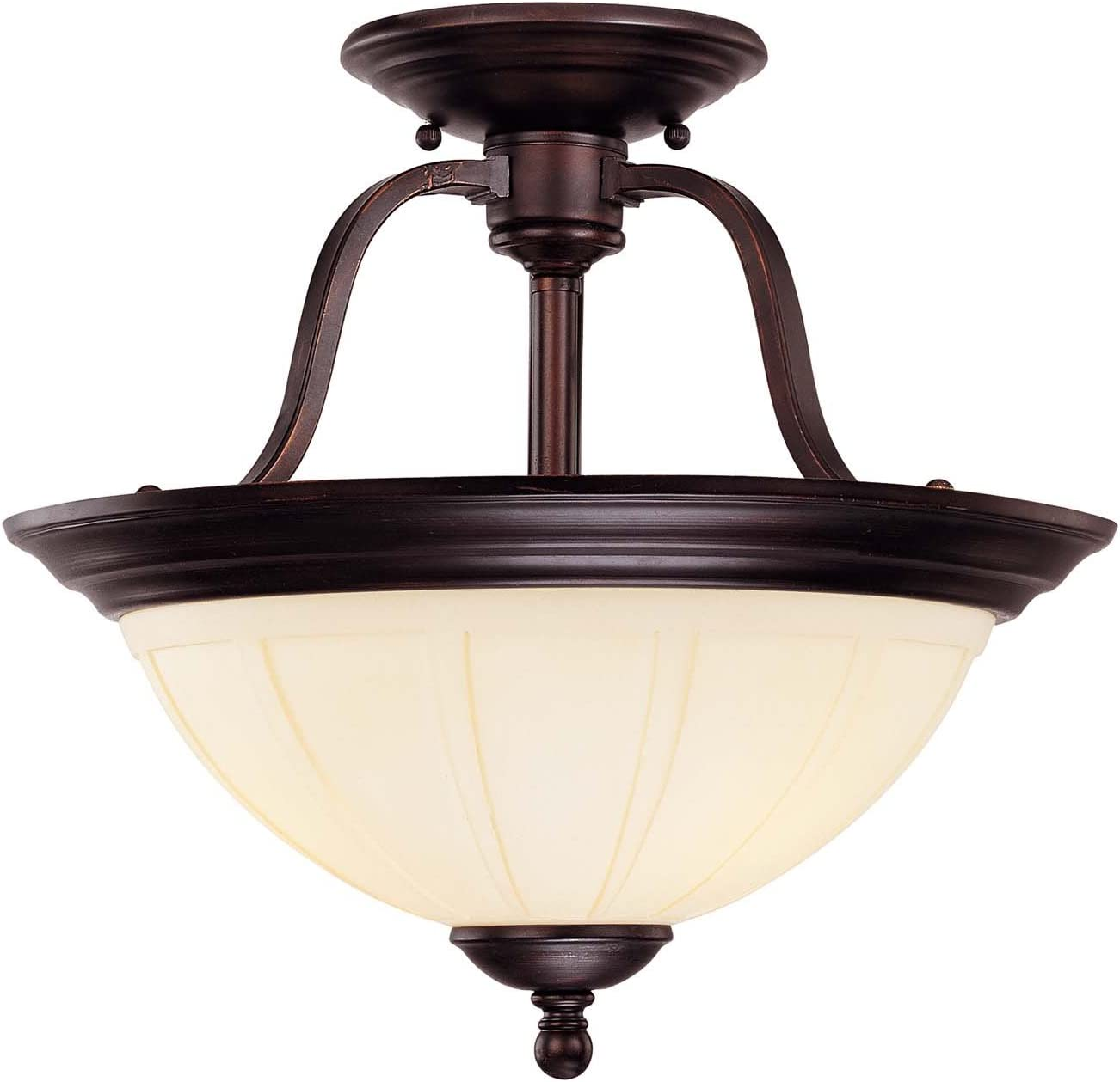 Savoy House 6-6906-3-13 Semi-Flush with Cream Opal Etched Shades, English Bronze Finish