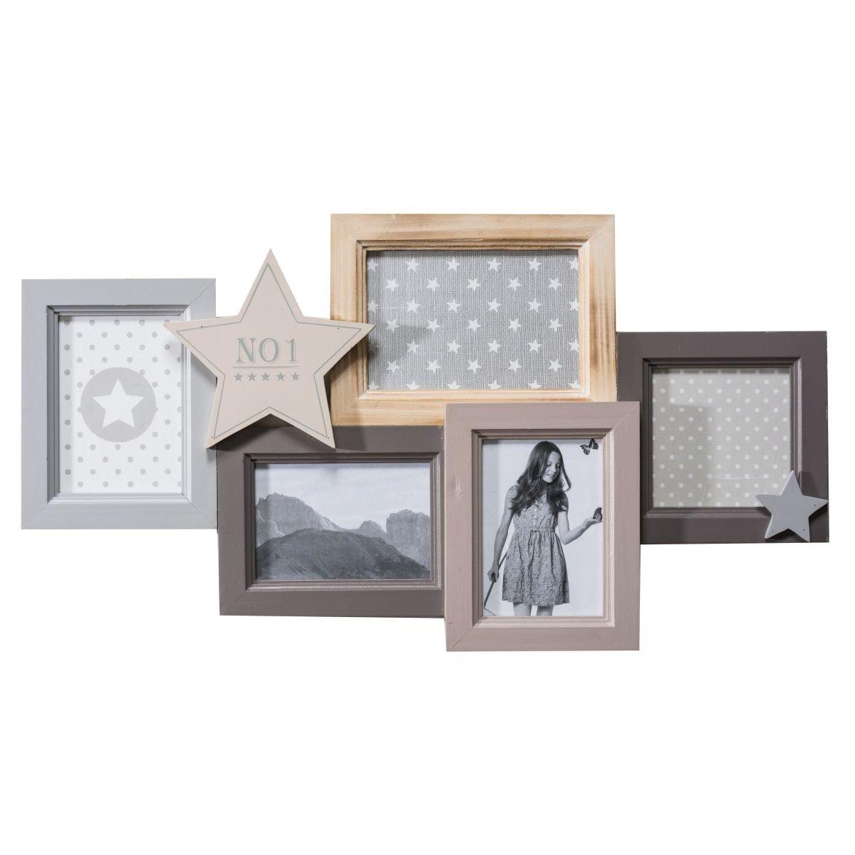 Portaretrato estrella galería de fotos para 5 fotos madera gris aprox. ancho 55 x altura 30 cm.: Amazon.es: Hogar
