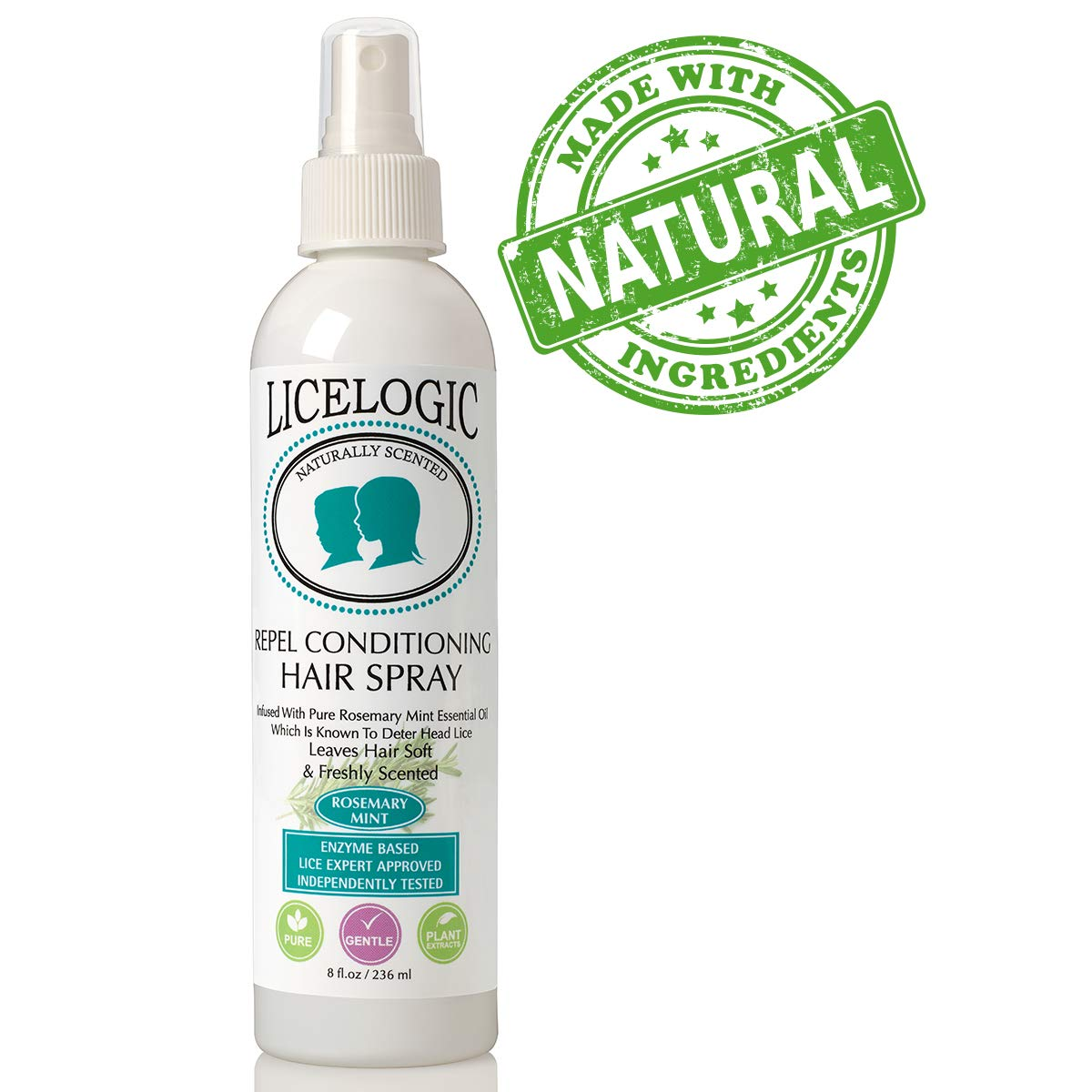 LiceLogic Natural Lice Prevention Hair Spray, Repels Super Lice, 8 oz - Mint -