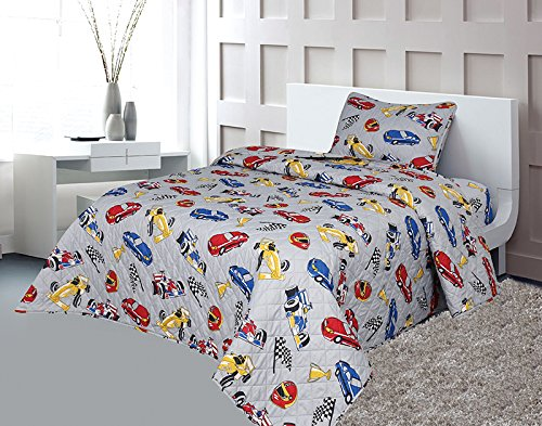 Sapphire Home 2pc Bedspread Quilt Set Twin Size for Kids Teens Boys, Race Cars Nascar Bedding Theme Printed Style Bedspread, Gray Twin Bedspread + Pillow ()