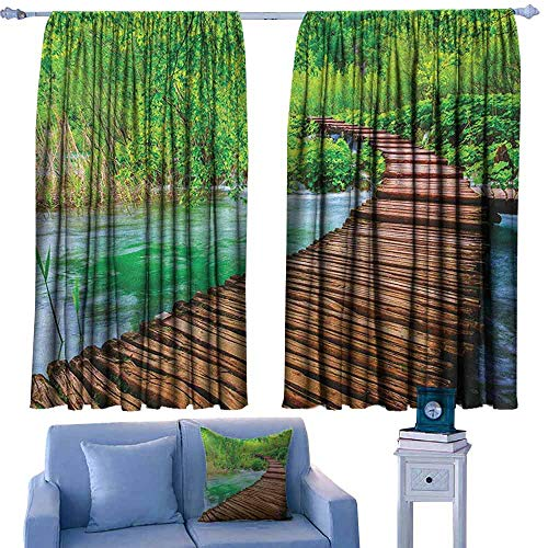 Mannwarehouse Landscape Heat Insulation Curtain Nostalgic Hand Made Oak Pathway Over The Creek Water Heads into South Europe Noise Reducing 55