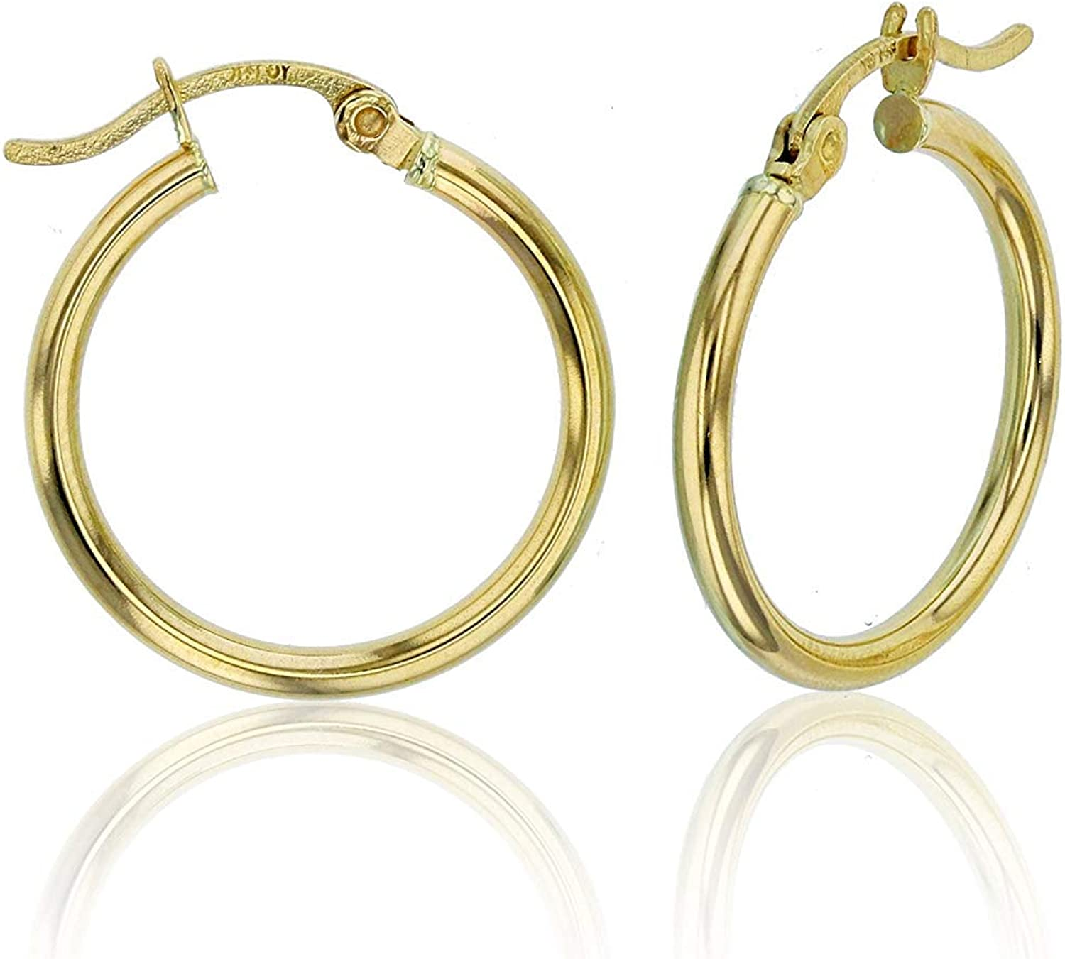 14k Yellow or White Gold 3mm Solid Polished Round Hoop Earrings for Women | 3mm Thick | Classic Style | Hoop Earrings | Secure Click-Top | Polished Earrings, 15mm-90mm