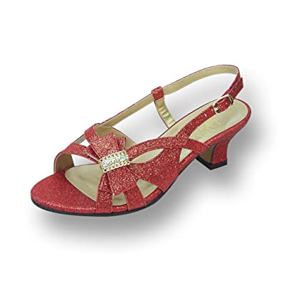 d18f7e5a8aeb Floral FIC Pixie Women Extra Wide Width Evening Glitter Sling Back RED 7