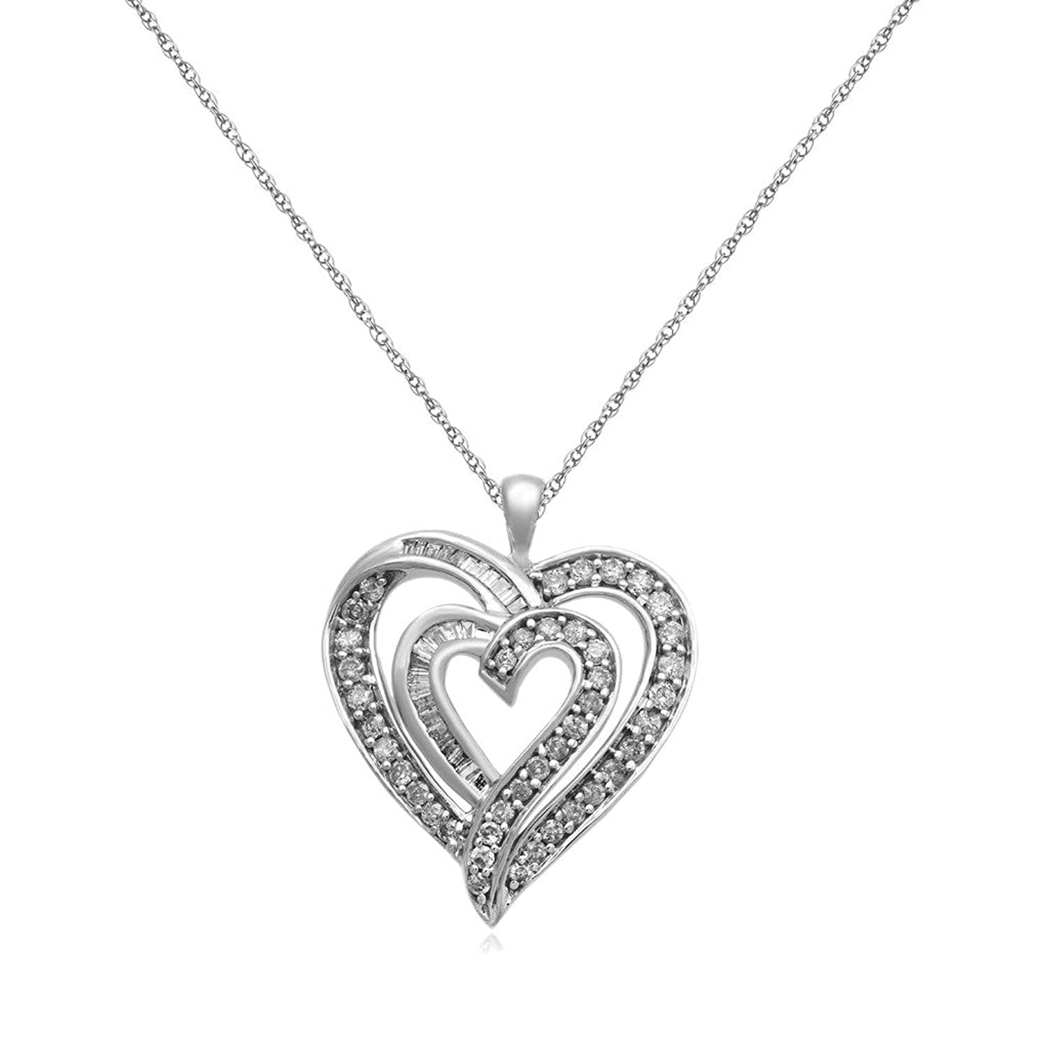 Jewelili 10kt White Gold 1 00ct Baguette and Round Diamond Heart