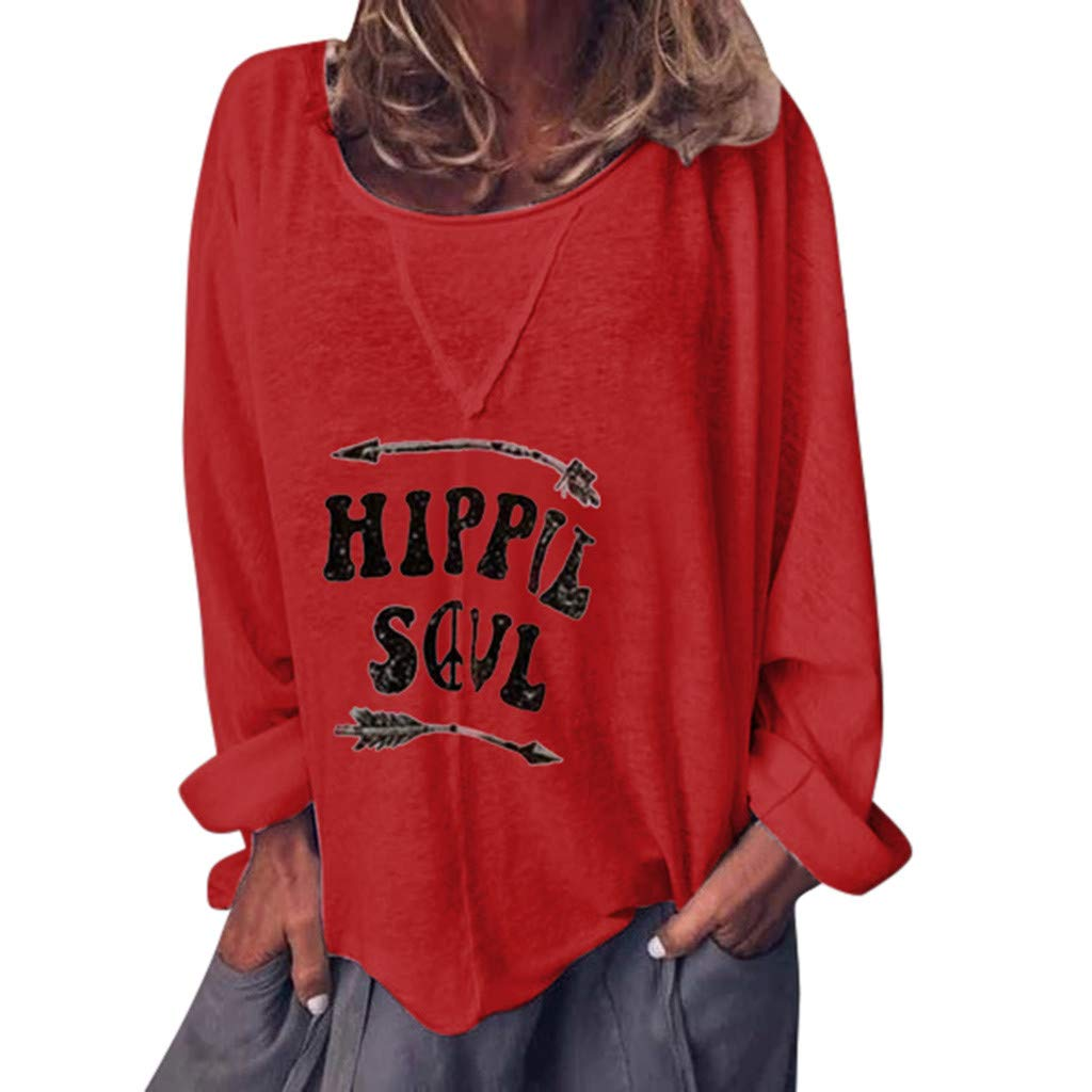 Gemira Graphic T Shirts for Women Scoop Neck Vintage Hippie Soul Shirt Letter Print Long Sleeve Funny Tops Casual Blouse by Gemira