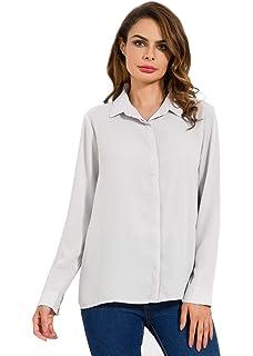 726d401318a MOQUEEN Womens Long Sleeve Chiffon Blouses Button Down Shirts Loose Casual  Tops