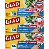 Glad Food Storage and Freezer 2 in 1 Zipper Bags - Quart - 46 Count -...
