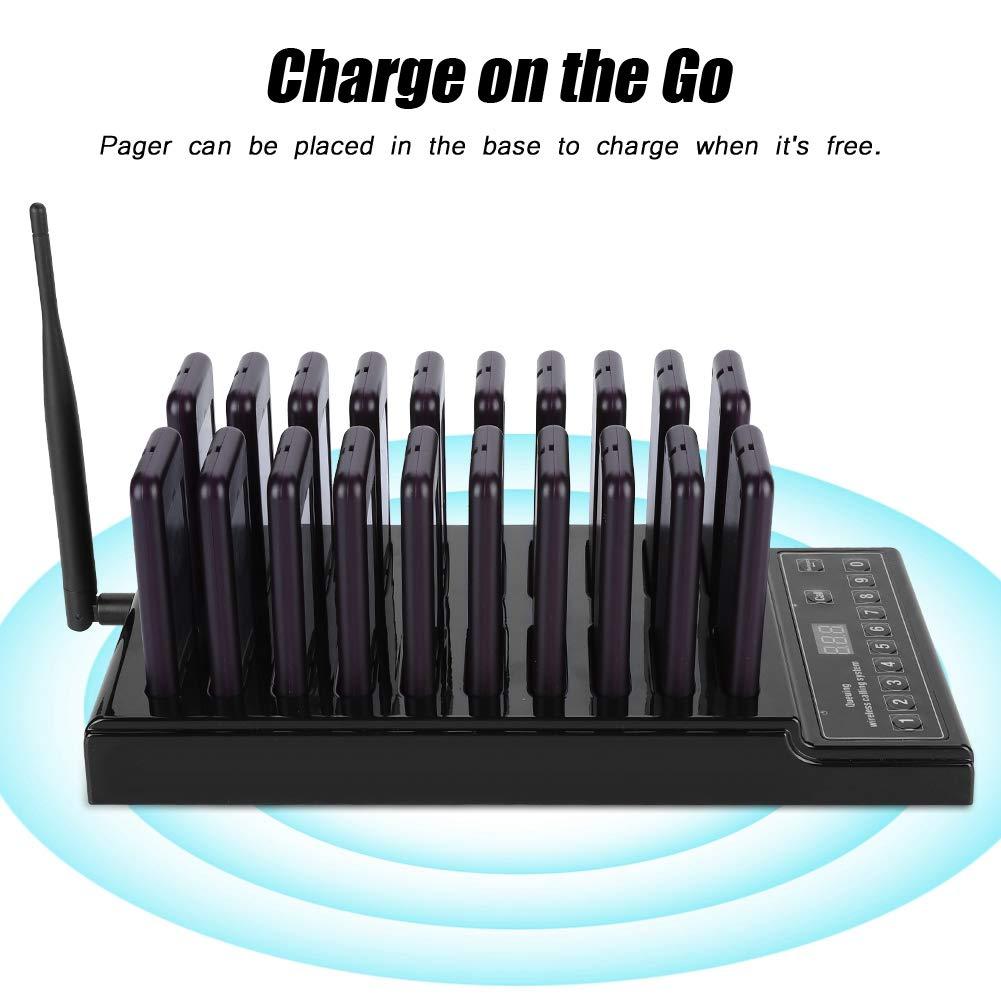 433,92 MHz Sistema di Chiamata Ospite Chiamata in Entrata Wireless 999 Canale 20 Sistema Chiamata Cercapersone per Ristorante Caffetteria EU ASHATA Wireless Cercapersone Sistema