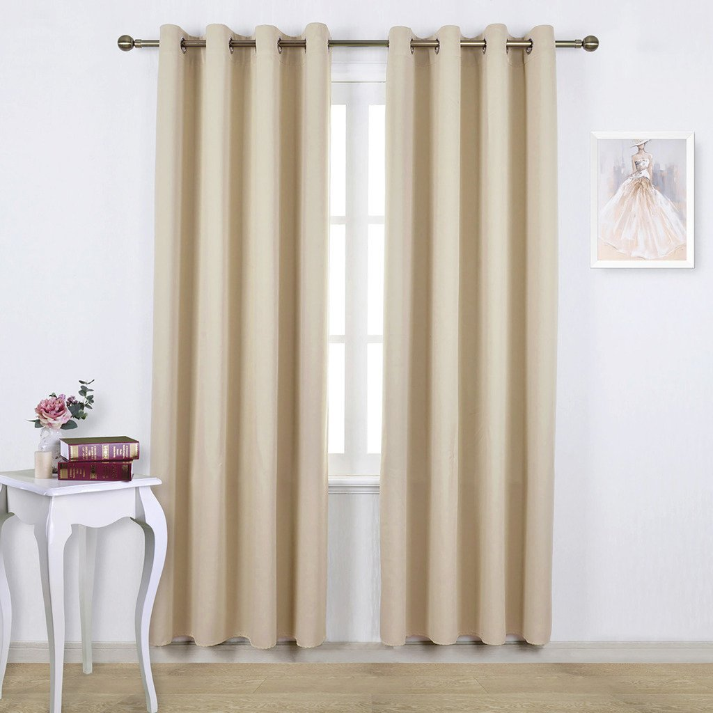 Facets Brown Room Darkening Blackout Insulated Kitchen: Beige Blackout Room Darkening Curtains