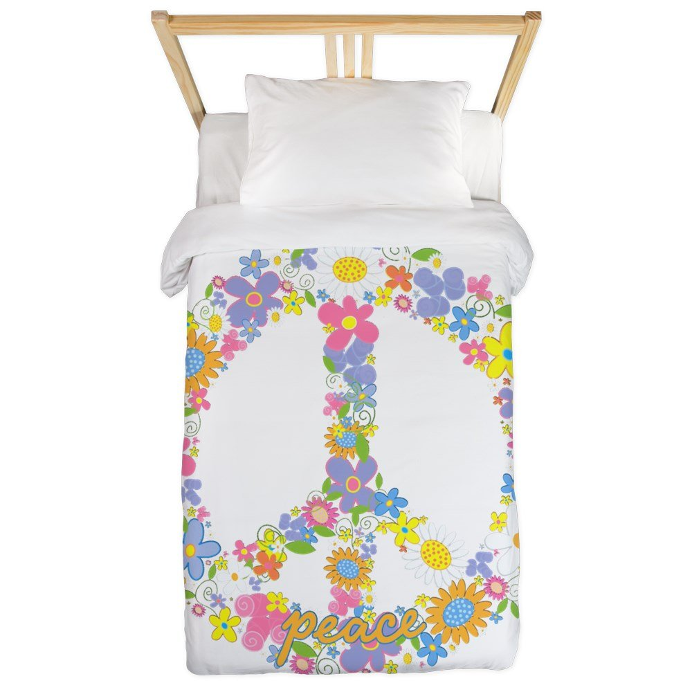 Twin Duvet Cover Floral Peace Symbol Sign by Royal Lion